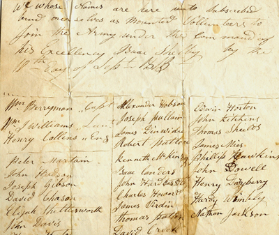 Volunteer roll, 25th Regiment, Kentucky militia, Sept. 1813