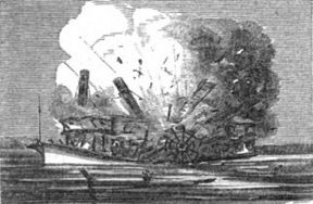 Woodcut of the Lucy Walker explosion