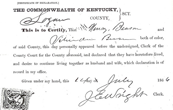 African American marriage declaration, 1866
