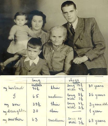 Aina Raits and family in 1949; and her notes on their clothing sizes