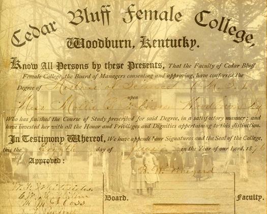 Cedar Bluff College; Mollie Robinson's diploma