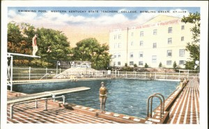 A former swimming pool from the Athletic Building was the site of present-day Cravens Library