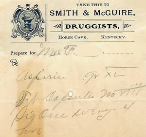 Hart County physician's prescription, 1909