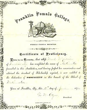 Maud McCutchen's certificate of proficiency, 1874