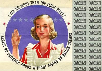 Homemaker's pledge; ration stamps