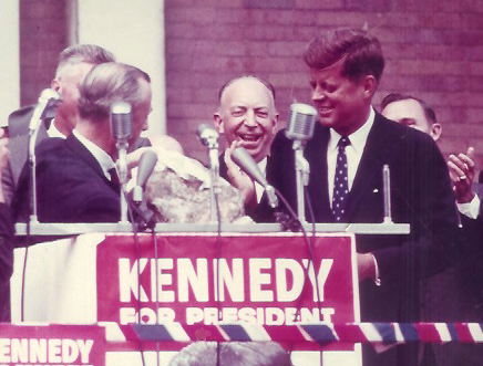 John F. Kennedy receives a country ham from Bowling Green mayor Bob Graham, October 8, 1960