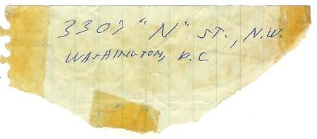 JFK's handwritten address for the country ham recipe