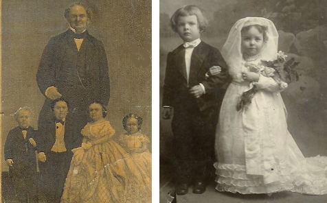 P. T. Barnum and Tom Thumb wedding party, 1863; Tom Thumb wedding, Bowling Green, 1905