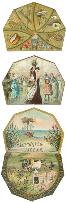 Front, back and insert, Galveston Deep Water Jubilee invitation, 1891