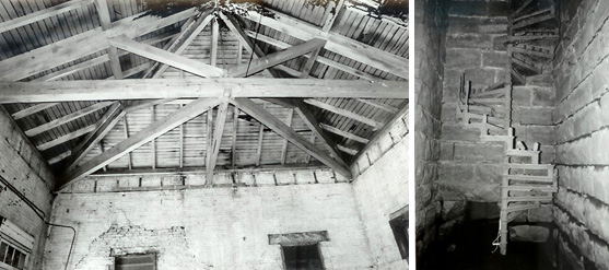 Roof truss system; spiral staircase, pump house (Kurt H. Fiegel)