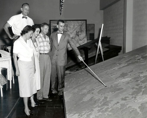 Frank Chelf (in checked shirt) and Mrs. Chelf visit federal judge and fellow Kentuckian Guthrie F. Crowe and Mrs. Crowe in Panama, 1959