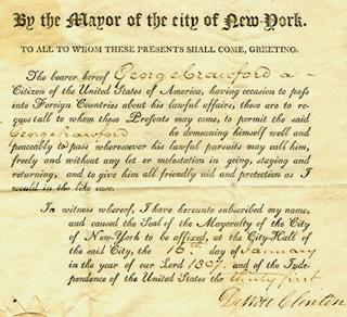 George Crawford's 1807 passport