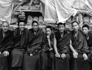 Seven monks, Wara Monastery, Chamdo, Tibet, 2006