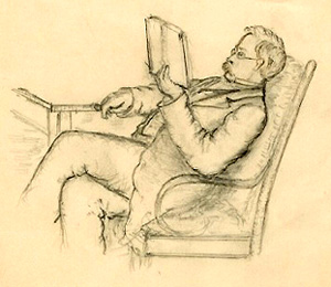 James Proctor Knott sketch of man reading