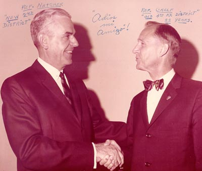 Departing Congressman Frank Chelf passes the torch to William H. Natcher, 1966