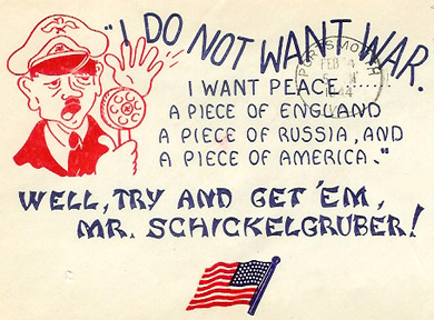 World War II-era envelope illustration (SC 1819) mocking Hitler by using the name of his father's unwed mother.