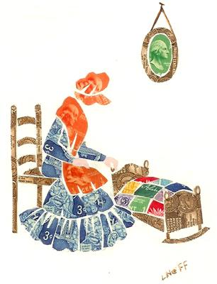 Loraine Neff stamp collage