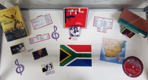 King Kong/South Africa display in Cravens Library by 1-4 elevator