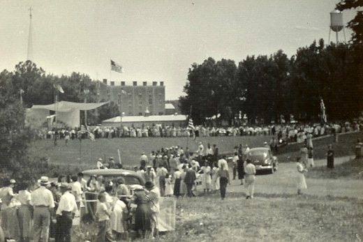 Crowds gather for the Gethsemani centennial, 1948