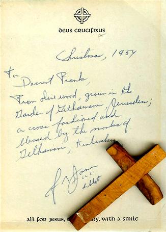 Crucifix presented to Frank Chelf, 1954