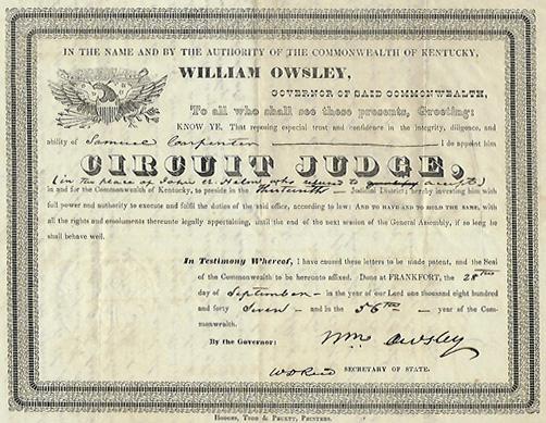 Samuel Carpenter's judgeship appointment, 1847