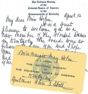 Margie Helm's Colonial Dames membership card