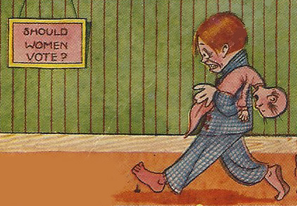 """Should Women Vote?"" wonders a harried husband (from a 1903 postcard, WKU Library Special Collections)"