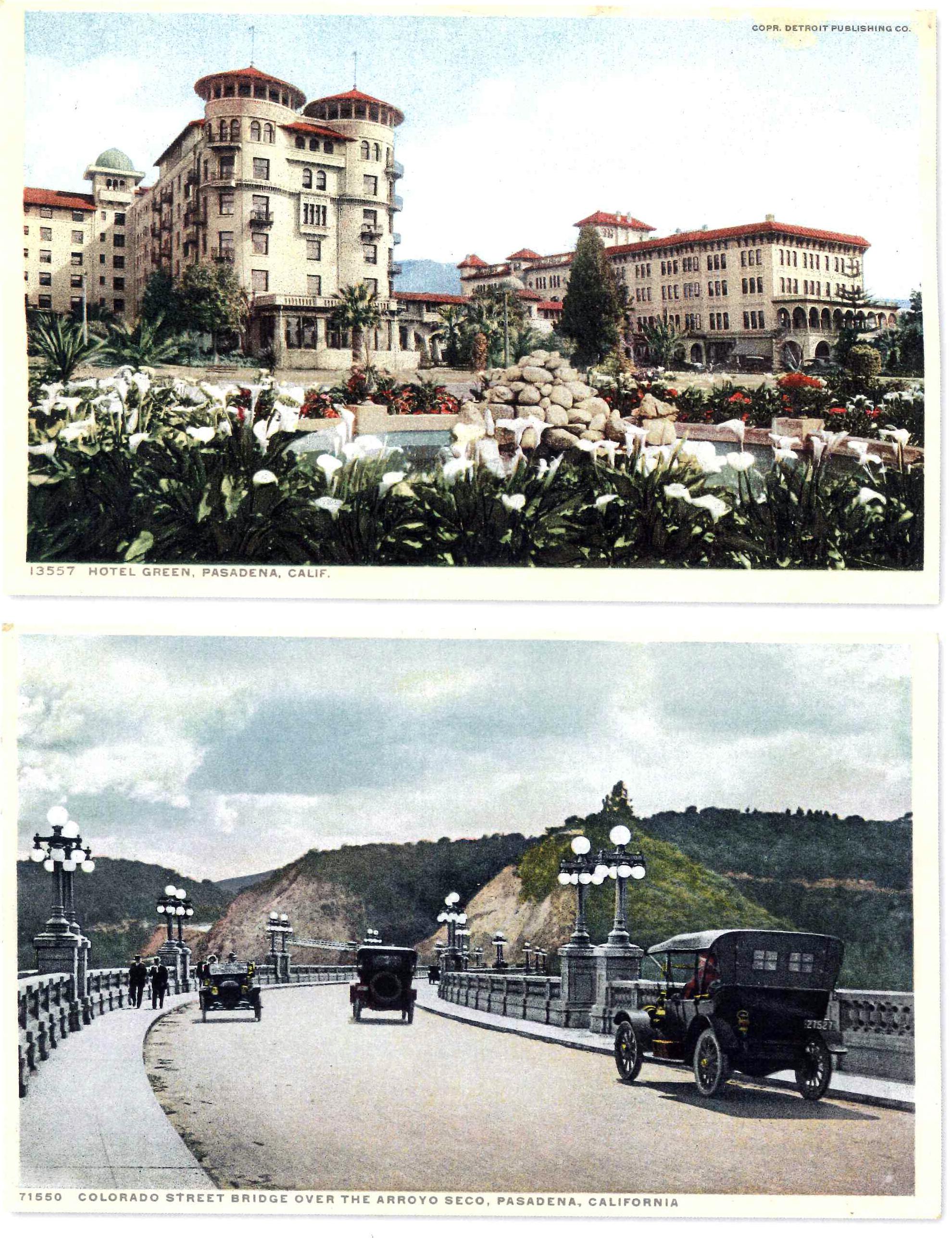 Hotel Green (top) and the Colorado Street Bridge over Arroyo Seco in Pasadena, California
