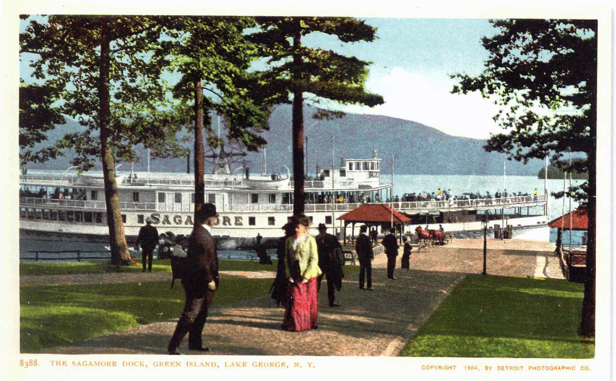 The Sagamore dock, Green Island, Lake George