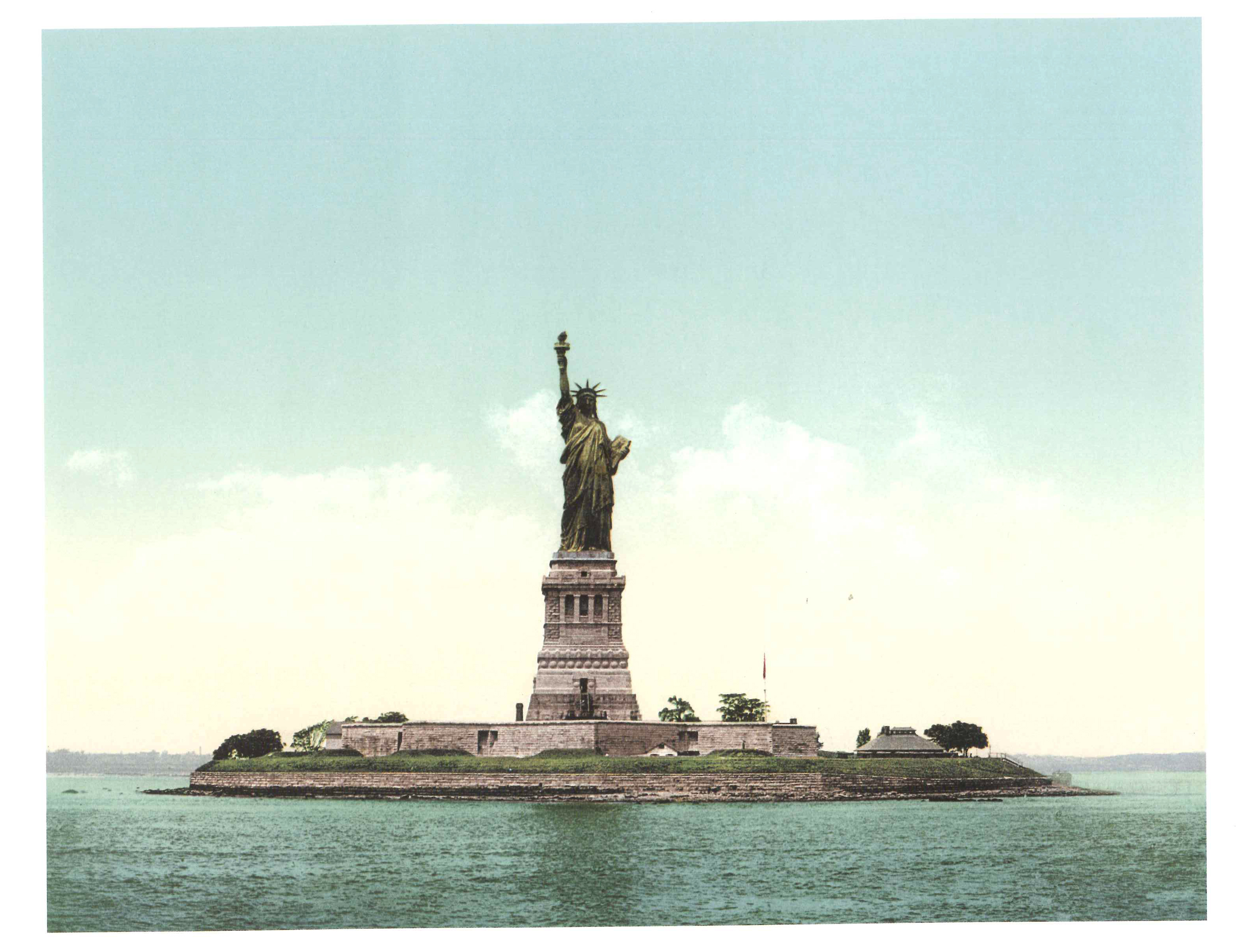 The Statue of Liberty in photochrom