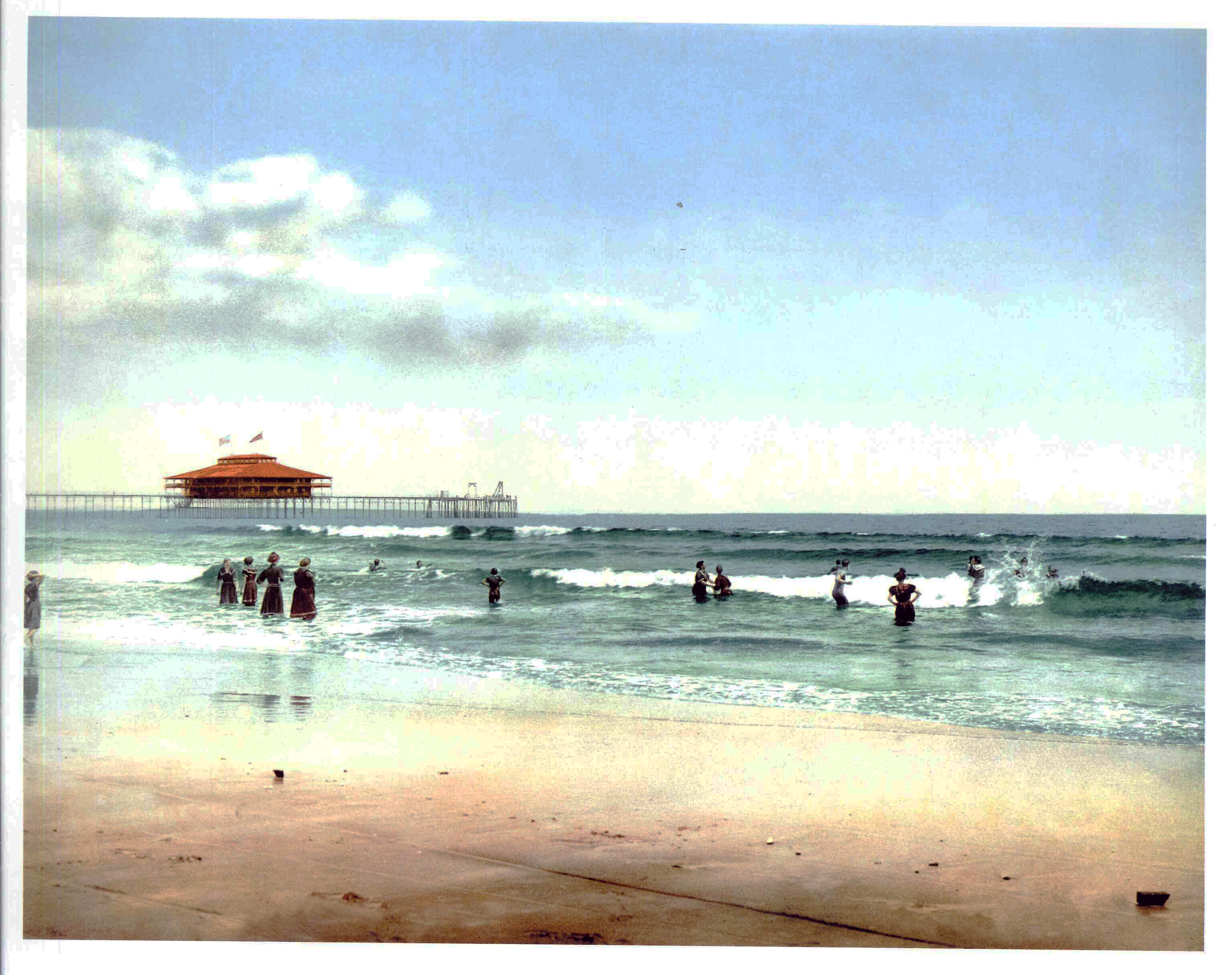 In the surf at Old Orchard, Maine (photochrom)