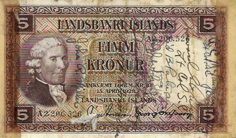 Iceland 5 krona banknote (Frank Chelf Collection)