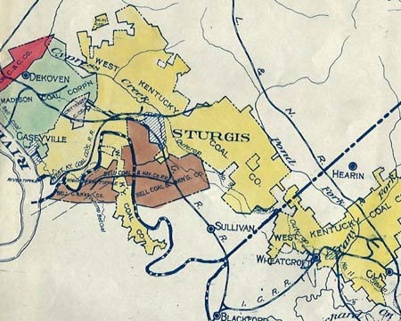 Detail from 1925 map of western Kentucky coal fields (Maurice Kirby Gordon Collection)