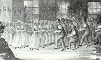Shakers dancing during worship
