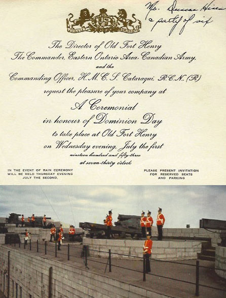 Invitation to Dominion Day ceremonies; Clara Hines's postcard of Old Fort Henry