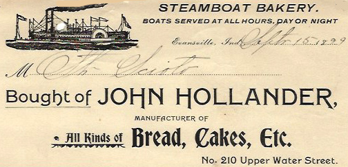Receipt from bakery serving steamboats