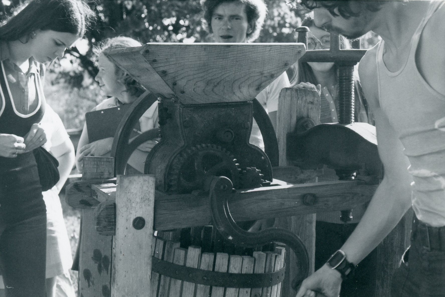 Students at cider press