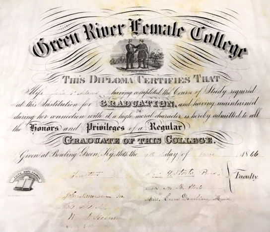 Green River Female College diploma