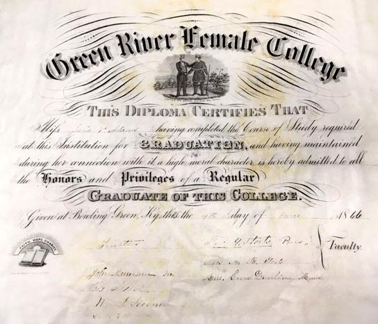 Green River Female College diploma