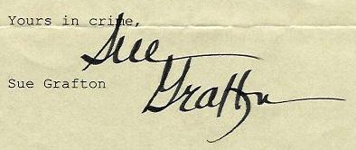 Sue Grafton's signature