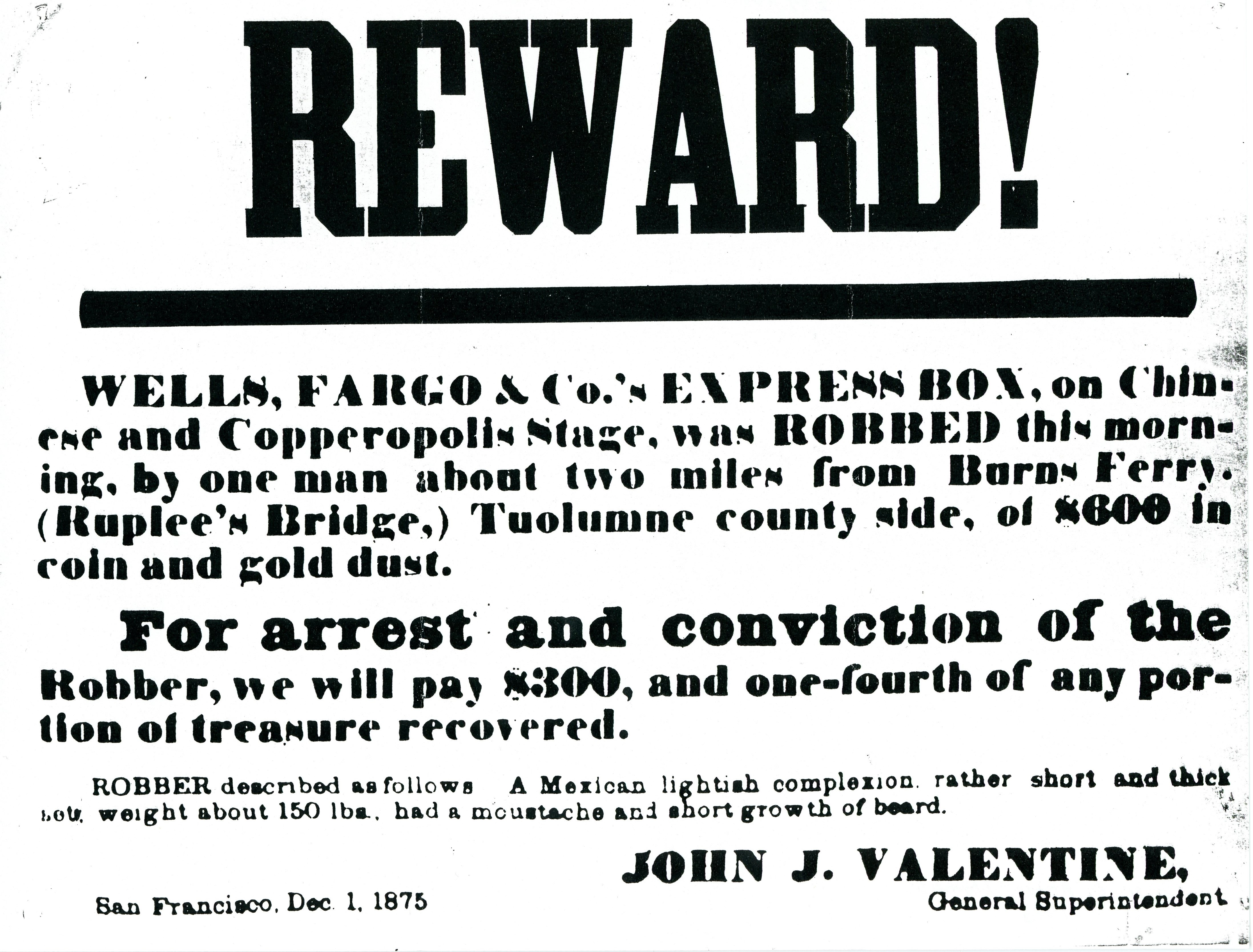 An 1875 broadside promises a handsome reward for the arrest of a train robber