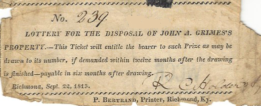Lottery ticket for John Grimes's property