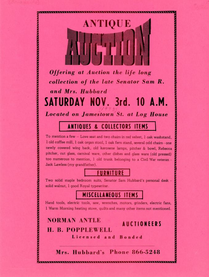 1973 Antique Auction broadside