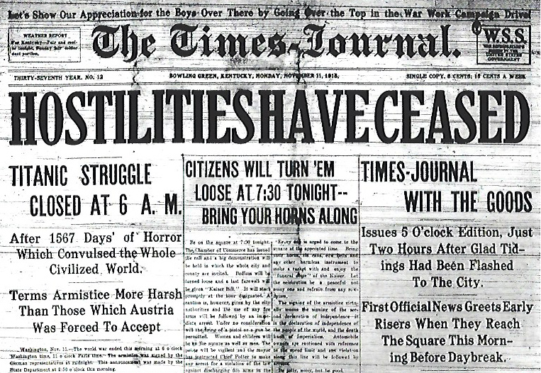 Bowling Green's Times-Journal announces the Armistice