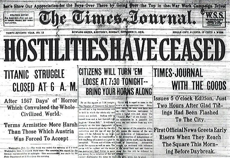 Bowling Green's Times-Journal announces the Armistice